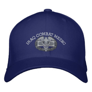 Combat Medical Badge & Iraq Campaign Ribbon Hat Embroidered Baseball Cap