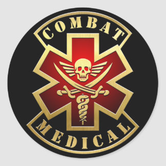 Combat Medical Skull & Swords Cross Patch Round Sticker
