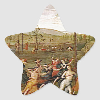 Combat of Love and Chastity by Pietro Perugino Star Sticker