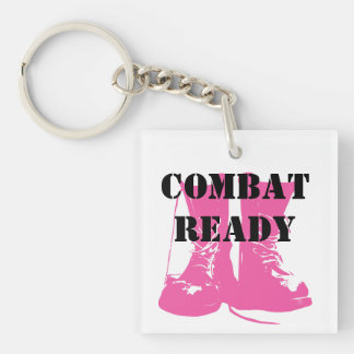 Combat Ready Pink Military Boots Key Ring