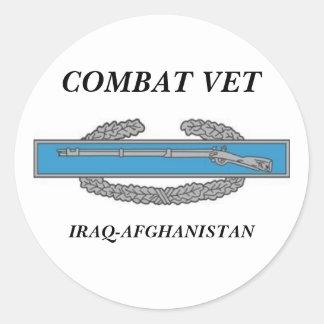 CombatInfBadge1Awd, COMBAT VET, IRAQ-AFGHANISTAN Classic Round Sticker