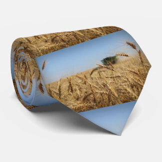 Combine in Wheat Field Tie