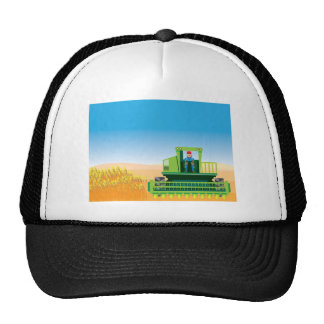 Combine Mows and Harvests crops vector Cap