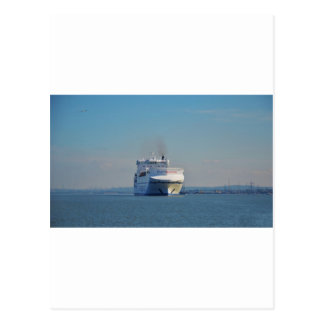 Combined Ferry And Container Ship Postcard