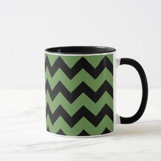 Combo 11oz Black & Green Zig Zag Mug