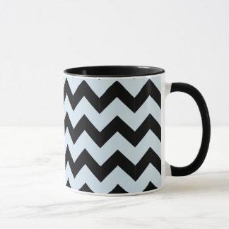 Combo 11oz Black & Light Blue Zig Zag Mug