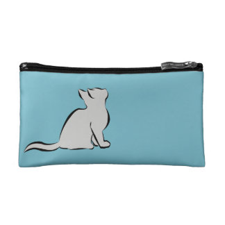 Combo: logo/black cat, grey fill cosmetic bags