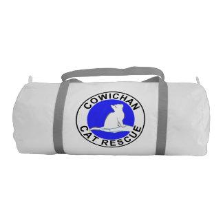 Combo: logo/black cat, white fill gym duffel bag