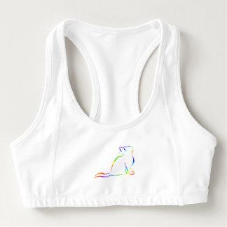 Combo: logo/rainbow cat, white fill sports bra