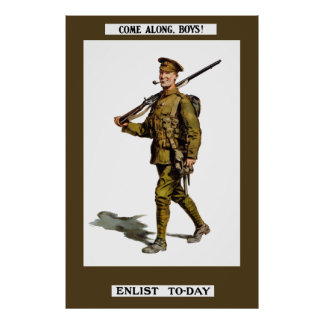 Come Along, Boys! Enlist To-Day Print
