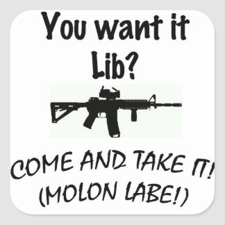 Come and take it LIB! Square Sticker