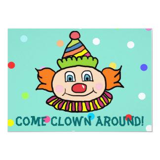 Come Clown Around With Us Circus Clown Birthday 13 Cm X 18 Cm Invitation Card
