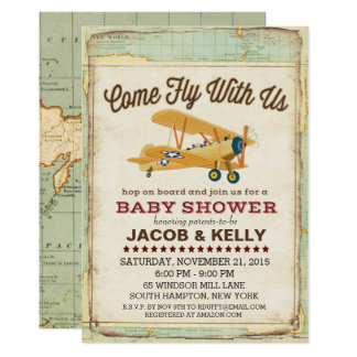 Come Fly Baby Shower Airplane Travel Invitation