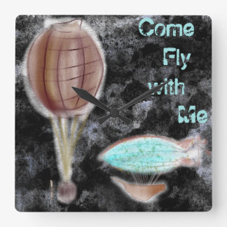 Come fly with me square wall clock