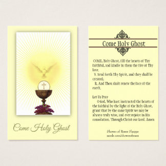 COME HOLY GHOST CONFIRMATION PRAYER HOLY CARD