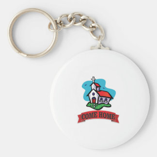 come home to church basic round button key ring