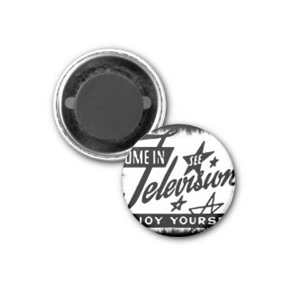 Come In See Television Enjoy Yourself Retro TV Ad 3 Cm Round Magnet