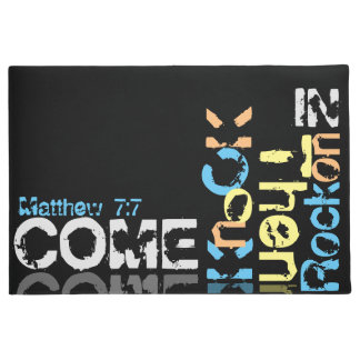 Come, knock, then rock on in,  big black doormat