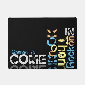 Come, knock, then rock on in black doormat