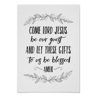 Come Lord Jesus Be Our Guest Prayer Wall Art