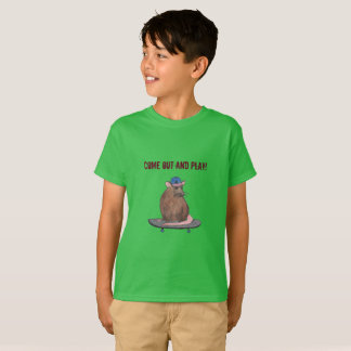 Come out and play - Cool Rat with a Skateboard T-Shirt