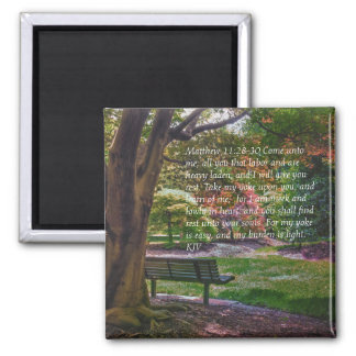 """Come rest"" autumn park magnet with bible verse"