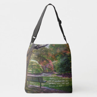 """Come rest"" autumn park tote bag with bible verse"