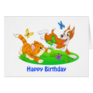 Come Romp with Me Dog and Cat Birthday Card