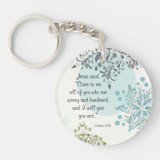 Come to Me I will give you rest, Matthew 11:28 Key Ring