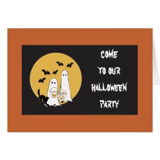 come to our halloween party note card