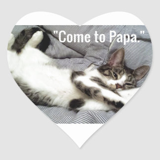 """Come To Papa"" Cat Heart Sticker"