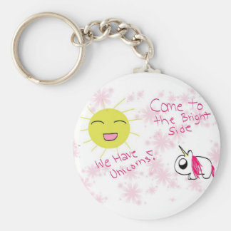 Come to the Bright Side Basic Round Button Key Ring