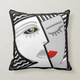 Come Together - Black, White and Red Cushion