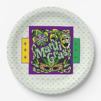 Come Together Mardi Gras Party Paper Plate