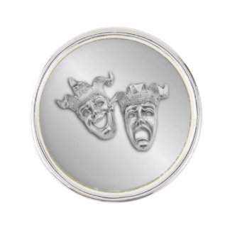 Comedy and Tragedy Silver Theater Lapel Pin