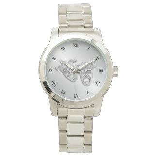 Comedy and Tragedy Silver Theater Roman Numerals Watch