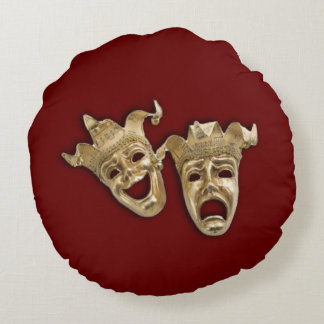 Comedy and Tragedy Theater  Dark Red Round Cushion