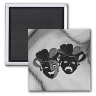Comedy and Tragedy Theater Jester Masks Silver Magnet