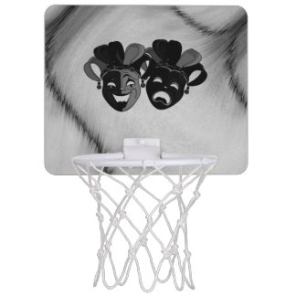 Comedy and Tragedy Theater Jester Masks Silver Mini Basketball Hoop