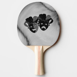 Comedy and Tragedy Theater Jester Masks Silver Ping Pong Paddle