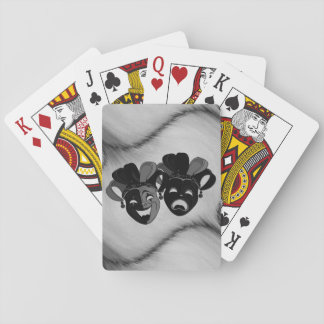 Comedy and Tragedy Theater Jester Masks Silver Playing Cards