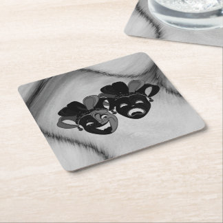 Comedy and Tragedy Theater Jester Masks Silver Square Paper Coaster