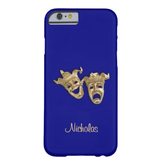 Comedy and Tragedy Theater Monogram Navy Blue Barely There iPhone 6 Case