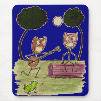 Comedy serenades Tragedy by the full moon Mouse Pad