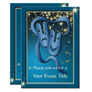 Comedy Tragedy Blue Theatre Mask Custom Invite