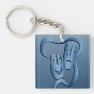 Comedy Tragedy Blue Theatre Mask Keychain