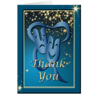 Comedy Tragedy Blue Theatre Mask Thank You Note Card