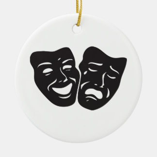 Comedy Tragedy Drama Theatre Masks Ceramic Ornament