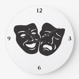 Comedy Tragedy Drama Theatre Masks Large Clock