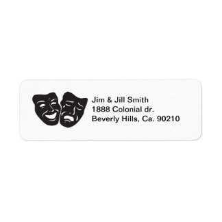 Comedy Tragedy Drama Theatre Masks Return Address Label